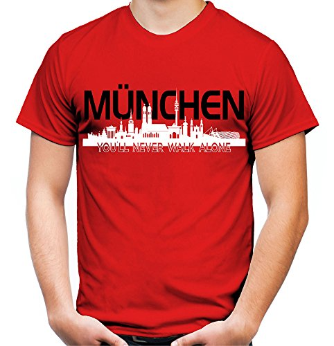 München Skyline Männer und Herren T-Shirt | Fussball Ultras Geschenk | M2 (M, Rot)