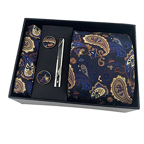 WALNUT Corbatas de Paisley Florales de Ancho clásico Cravate Homme Corbatas de Seda para Hombre para Traje de Hombre Corbata de Boda de Negocios Paquete de Caja de Regalo (Color : D)
