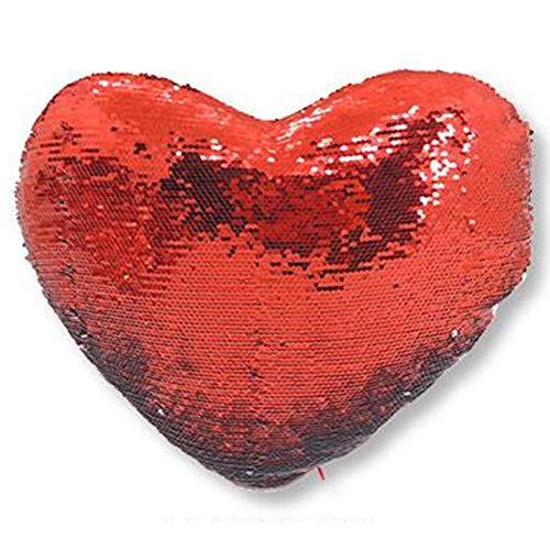 AR Regalos Cojín Personalizado de Lentejuelas Reversibles (Corazón Rojo)