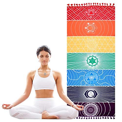 GSDCNV Serviette de Plage Arc-en-Ciel Yoga 7 Chakras Serviette de Plage Tapisserie Serviette de Bain Zigeuner Protection Solaire 150 x 75 cm Multicolore