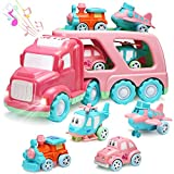 Carrier Car Toy Set(5 in 1) with Lights and Sounds, Pink Toy for Girl Toddler Kid, Friction Powered Double Layer Transport Truck with Cartoon Vehicles, Child Play Birthday Gift Christmas Party Favors