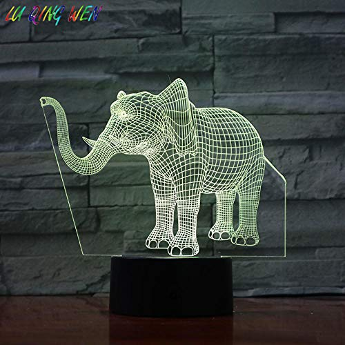 LED Night Lights Animal elephant elephant7 Colors Change Touch Control USB Children Kids Gift Acrylic Decor Baby Room Light Decoration Bedroom-16 colors remote