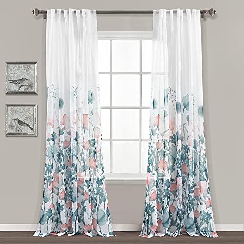 "Lush Decor Zuri Flora Sheer Window Curtain Panel Pair, 84"" Long x 38"" Wide, Blue & Coral"