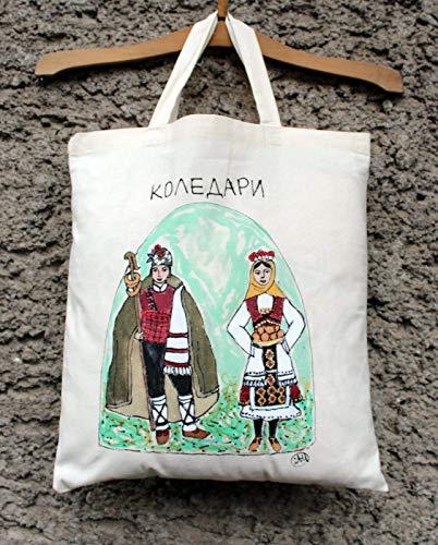 Handgemalte Bulgarien Tracht Baumwolltragetasche, bulgarische Einkaufstasche, Folk Tote Tasche, traditionelle bulgarische Tasche, Tasche Volkskunst, Folklore Kunst