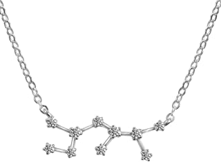 Horoscope Plated Silver Necklace Zodiac Sign Women Pendant Constellation Necklace Birthday Gift