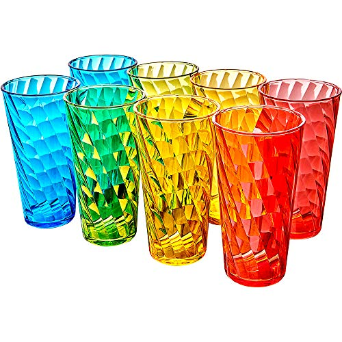 Amazing Abby Glacier  18Ounce Plastic Tumblers Set of 8 Plastic Drinking Glasses MixedColor HighBalls BPAFree ShatterProof DishwasherSafe