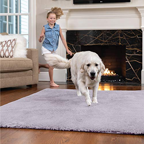 GORILLA GRIP Original Faux-Chinchilla Area Rug, 3x5 FT, Many Colors, Soft Cozy High Pile Washable Kids Carpet, Rugs for Floor, Luxury Shag Carpets for Home, Nursery, Bed and Living Room, Soft Purple