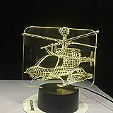 Lámpara de Mesa de Modelado de helicóptero lámpara de mesilla de avión avión luz de Noche Regalo decoración del hogar Cambio de Color