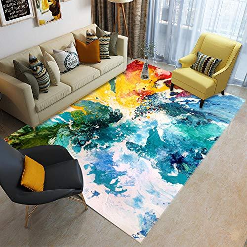 HXJHWB Alfombra Lavables Moquetas - Pintura de Tinta Creativa, Alfombra Interior, Estudio Moderno, sofá, Mesa de café, Terciopelo Corto de fácil Cuidado-Los 50CMx80CM
