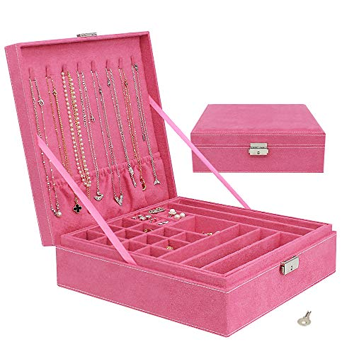 2-Layer Jewelry Box for Women - Jewelry Organizer Box for Girls, Large Suede Jewelry Display Case with Lock for Ring Necklace Earring Ear Stud Bracelet Brooch, Pink - Enrack