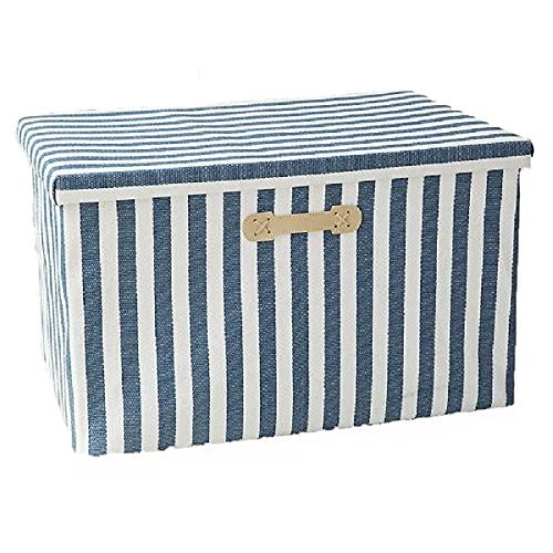 Caja de almacenamiento plegable,cubos de almacenamiento de tela con asas,caja de almacenamiento premium con tapa para el hogar, oficina,ropa,edredón,contenedores organizadores de juguetes,Stripes-M