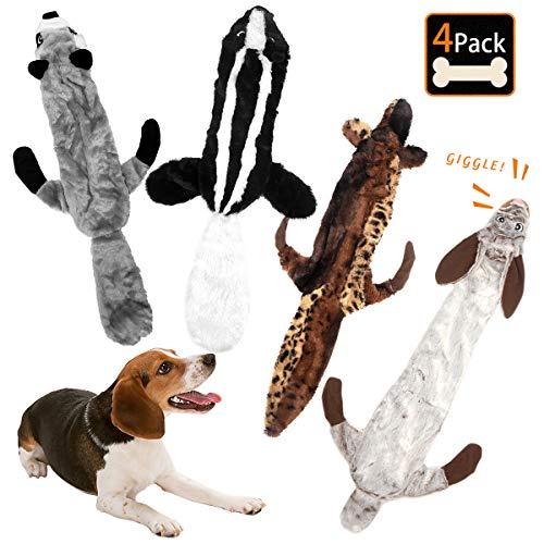 Bojafa Plüsch-Kauspielzeug für Welpen, mit Quietschelement, kein Füllen, langlebiges Plüschspielzeug für Welpen, kleine, mittelgroße und große Hunde, Spielspaß - Kaninchen, Bär, Wolf und Eichhörnchen