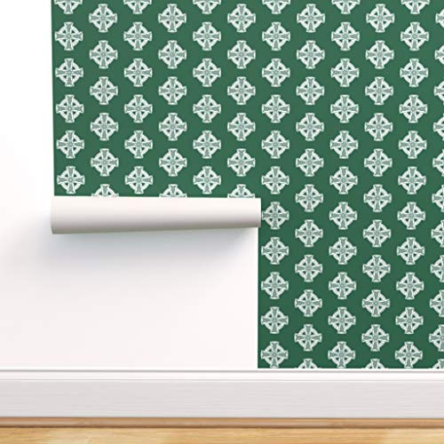 Spoonflower Pre-Pasted Removable Wallpaper, Jade Christianity Christian Christ Celtic Crosses Cross Print, Water-Activated Wallpaper, 24in x 108in Roll