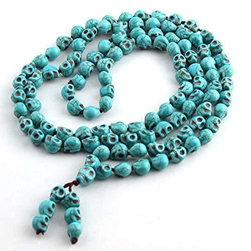 DUEJJH Co.,ltd Collar joyería Bohemia Azul Largo Anudado Budismo Tibetano 108 Huesos Calaveras Cabezas oración Collar Mala