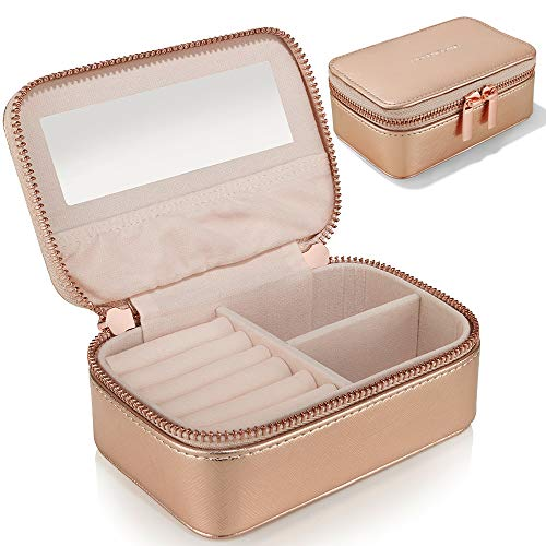 Small Jewellery Box Organiser for Travel - Jewelry Case in Faux Leather for Earrings Rings Necklaces - Gifts for Women by Lily England, Rose Gold