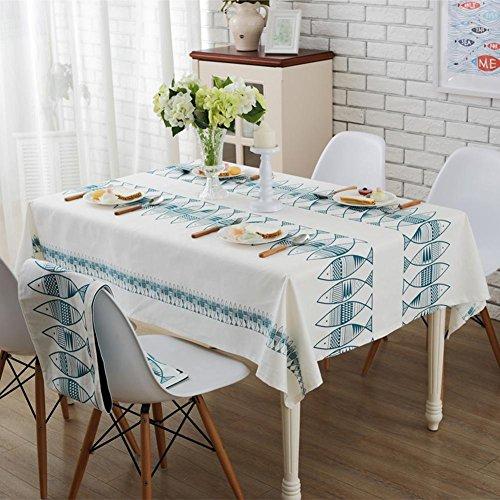 Poissons Solide Couleur Coton Nappe Tissu Simple Nappes Tissu Serviette Table Carrée Nappes Ronde , 140*180cm