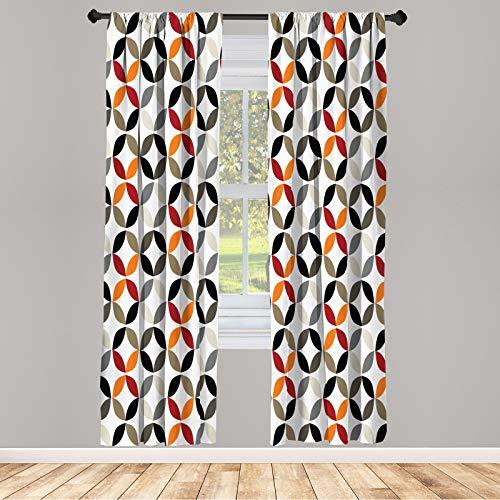 ABAKUHAUS Hipster Juego de 2 Paños Cortinas, Formas de Boho del Anillo, Tratamiento de Ventana para Habitación y Dormitorio, 150 cm x 175 cm, Multicolor