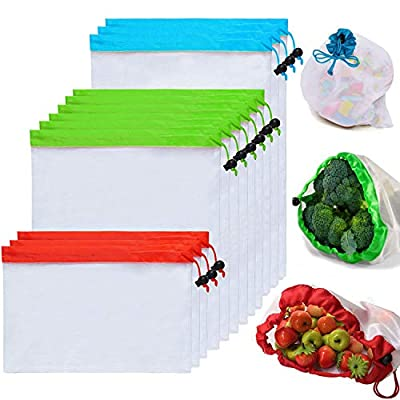 Poipoico Reusable Produce Bags,Premium Grocery Bags Reusable,Reinforced Edges,Upgraded Sturdy,Still Lightweight,Eco-friendly and Washable,See-through Shopping Bag(12PCs-3L,6M,3S)