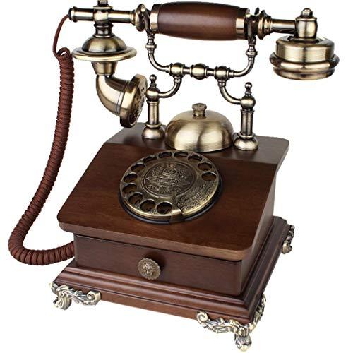 ZTMN Europese retro telefoon/antiek telefoon, houten en metalen kasten, wijzerplaat, woonkamer, vaste telefoon