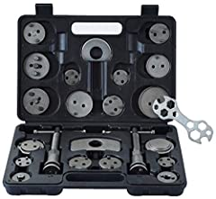 IDEAL FOR MECHANICS: 22pcs pad and caliper wind back set to replace brake pads and rotate pistons back into the caliper+10-in-1 Hexagon Wrench as gift. UNIVERSAL DESIGN: includes 18 adapters(including #10 VW) fitting hundreds of vehicle makes and mod...