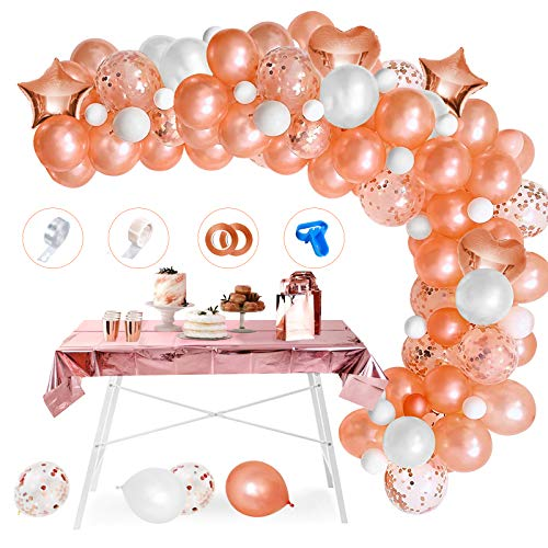 APERIL Kit de Guirnaldas de Globos Oro Rosa,  90 Piezas Globos de Cumpleaños Oro Rosa y Mantel,  Confeti Globos de Oro Rosa globos Oro Rosa y Blanco para Fiesta Navidad Cumpleaños Bodas Baby Shower