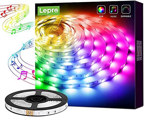 Tira LED 5M, Tiras de Luces LED RGB, Sincronización de Música, Lepro Tira LED Musical 5050 SMD, 12V 24 Teclas Cinta LED Autoadhesivas, LED Strip Para Habitacion, Hogar, Bar, Fiesta, Restaurante