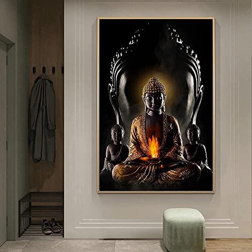 WZRY - Cuadro de oro de Buda impreso, impresión sobre lienzo decorativo...