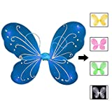 Butterfly Fairy Wings Dress Up Wings Birthday Party Favors Costume Angel Wings for Kids, Blue(16.5' W x 13.7' L)