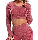 Tops Yoga Camiseta Deportiva Sin Costura Mangas Larga Fitness Mujer Gimnasio Rosa S