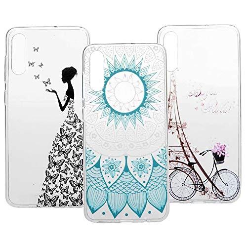 3 x Schutzhülle für Xiaomi Poco X3 NFC, 3D-Malerei, transparent, weiches TPU-Gel, ultradünn, dünn, dünn, transparent, stoßdämpfend, flexibel, kratzfest, Schutzhülle für Mädchen Totem Tower