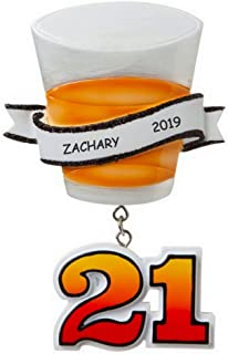 DIBSIES Personalized 21st Birthday Shot Glass Christmas Ornament