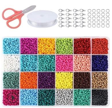 Mlysnd Bolitas Collares, 24000 Piezas Perlas Vidrio Cuentas Colores Cuentas para Collares con Caja de Almacenamiento para Hacer Joyas Collares Pulseras Pendiente Bisutería Regalo DIY, 2mm (24 Colores)