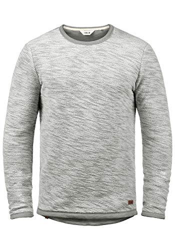 !Solid Flocks Herren Sweatshirt Pullover Flocksweat Pulli Mit Rundhalsausschnitt Aus 100% Baumwolle, Größe:L, Farbe:Mid Grey (2842)