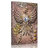 Mazeran 3D Embossed Retro Leather Hard Cover Journal, Antique Rhinestone Handmade PU Leather Lined Writing Diary, A5 Vintage Phoenix Theme Personal Travel Notebook, Gift for Women Men Teacher