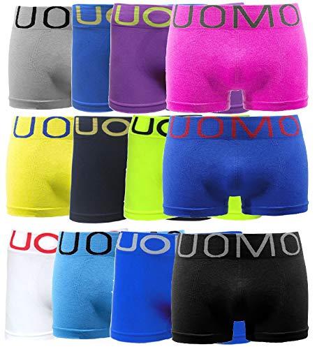 UOMO Boxershorts Herren Unterwäsche Retro-Pants Shorts Unifarben Sportshorts Knallfarben Mikrofaser Neon Farben 6er / 12er / 18er Pack (L/XL, 12 Pack Neon)