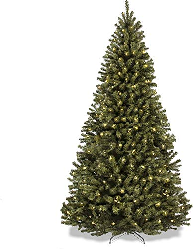 CANNYONLY 6 ft Artificial Christmas Tree with Warm Lights, Premium Spruce Hinged Xmas Tree for Home Holiday Decorate, Easy Assembly