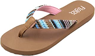 FLOJOS WOMENS JUNO WEAVE SANDALS, PINK/TAN MULTI, 7 M US