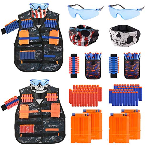 Mibote 2 Pack Kids Tactical Vest Kit for Nerf Guns N-Strike Elite Series Gun Wars with Refill Darts, Reload Clips, Dart Pouch, Tactical Mask, Wrist Band and Protective Glasses for Boys/Girls