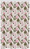 ABAKUHAUS EIS Schmaler Duschvorhang, Grunge Cupcakes, Badezimmer Deko Set aus Stoff mit Haken, 120 x 180 cm, Armeegrün Hellrosa Sand