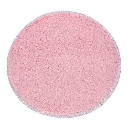 sunnymi redonda Alfombra Coral Fieltro DF920, antideslizante alfombrilla de cocina cuarto de baño, pelo corto, Rosa, 40 cm