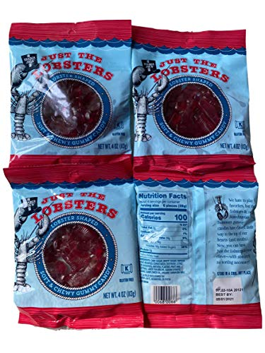 4 packs Just the Lobster Gummy Candy .4 oz. each
