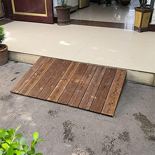Rampa de umbral de entrada de patio para sillas de ruedas de madera, escaleras / escalones de jardín, rampa de transición de umbral de andador portátil, para scooters motorizados (color nogal)