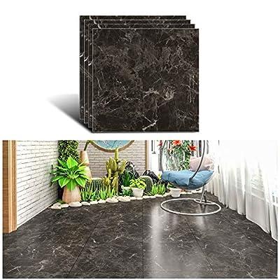 VEELIKE Vinyl Floor Tiles Peel and Stick 12''x12'' Dark Brown Marble Flooring Tiles Self Adhesive Waterproof Floor Vinyl Sticker Tiles Decorative for Bedroom Bathroom Kitchen Walls Basement 4 Pack