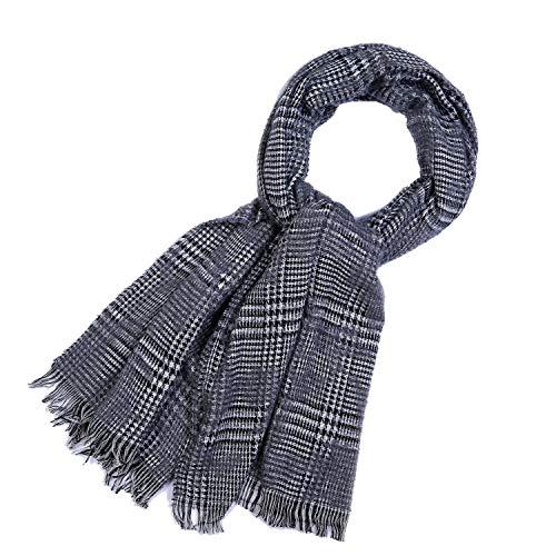 Alvnd Maxi-Cosy Troddelsjaal, uniseks, kleine gridd motief, warme zachte deken, sjaal, heerlijke verpakkingssjaal 180 * 65CM G