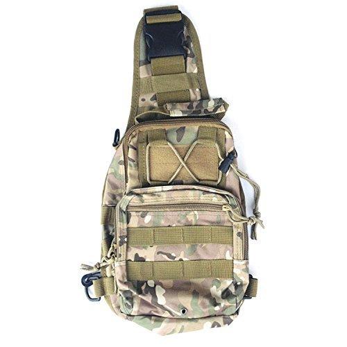 Tailcas Outdoor Sport Tattico Military Army Zaino Backpack in Nylon Tracolla Messenger Satchel Zaino da Viaggio Adatto per la Corsa di Campeggio Escursioni Trekking (CP Camo)