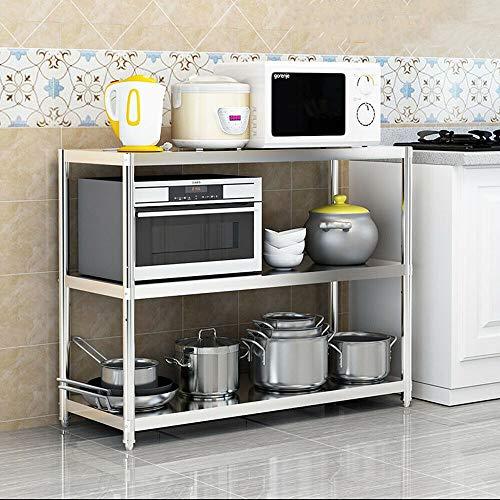 Kaibrite Estantería de cocina de 3 pisos, de acero inoxidable, para cargas pesadas, para microondas, capacidad de carga de hasta 50 kg, estantería de almacenamiento de 80 x 80 x 40 cm