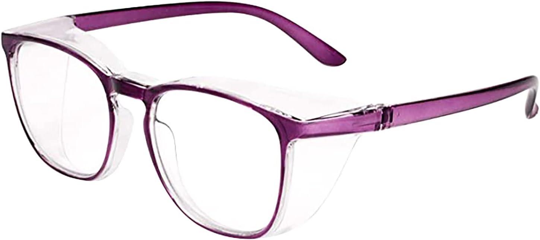 Hansensi - Gafas de deporte al aire libre con marco redondo, gafas de protección antivaho, 100% UV, gafas de seguridad, antipolen, gafas de trabajo, antivaho y antiarañazos, color lila