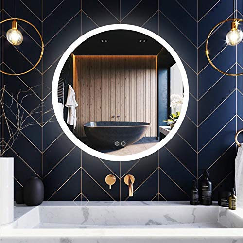 Summer Calling 24 Inch Round LED Lighted Bathroom Mirror with Anti-Fog, Wall-Mounted Frameless Led Backlit Mirrors, Dimmable Memory Touch Sensor 3000-6000k IP54 Waterproof CRI95+