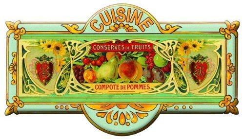 plaque metal de porte cuisine-compote de pommes-8x20 cm-mp184