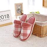SWX-FlipFlop Inicio Zapatos de algodón Zapatillas de algodón otoño e Invierno Hombres hogar hogar Parejas Deslizamiento Interior cálido Lindo Zapatillas Suaves Fondo algodón Rojo Rejilla 42/43